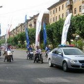 Марш поколений металлургов, мотоциклисты с флагами